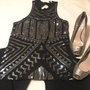 Bling Xmas party crew neck top sleeveless black